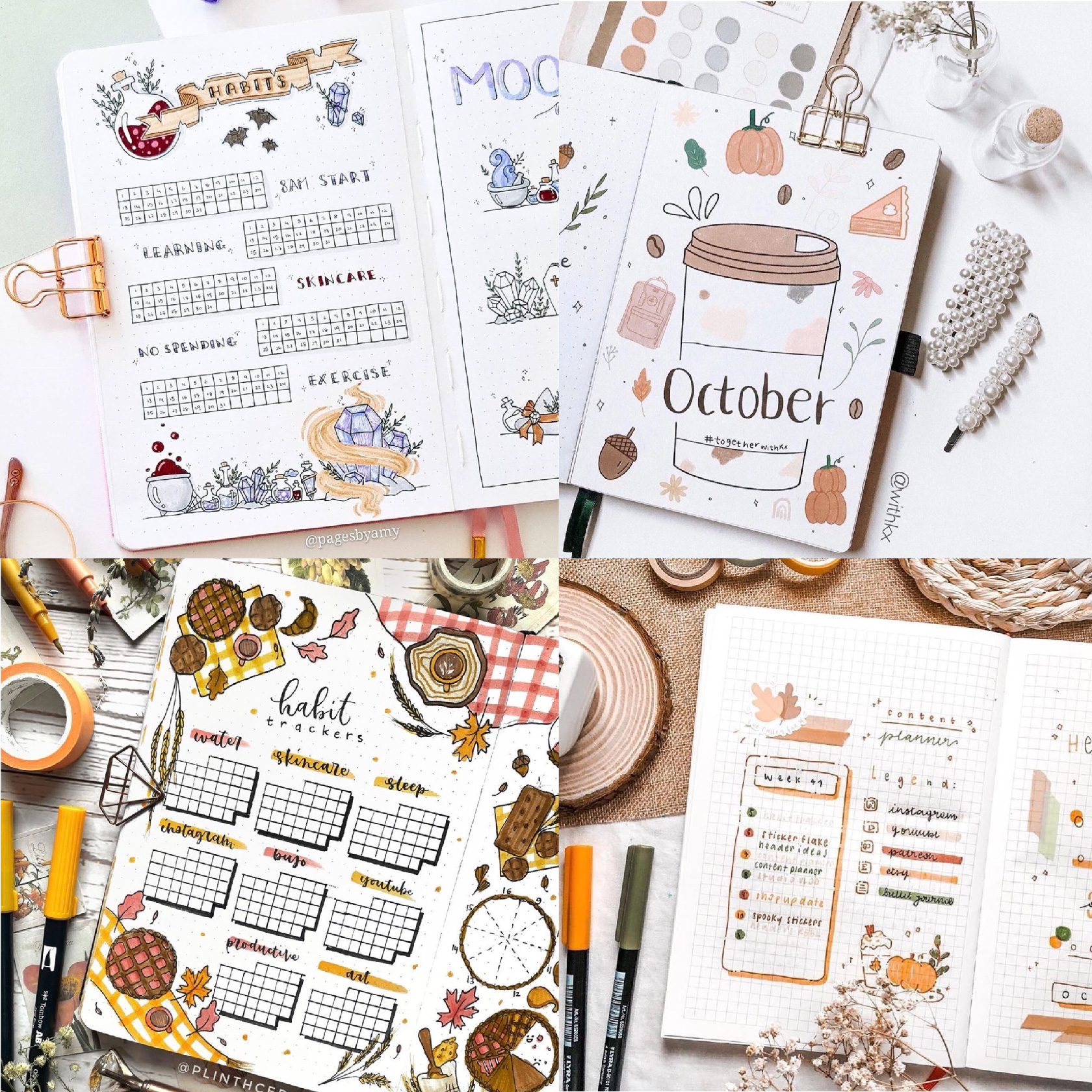 fall bullet journal layouts for ideas