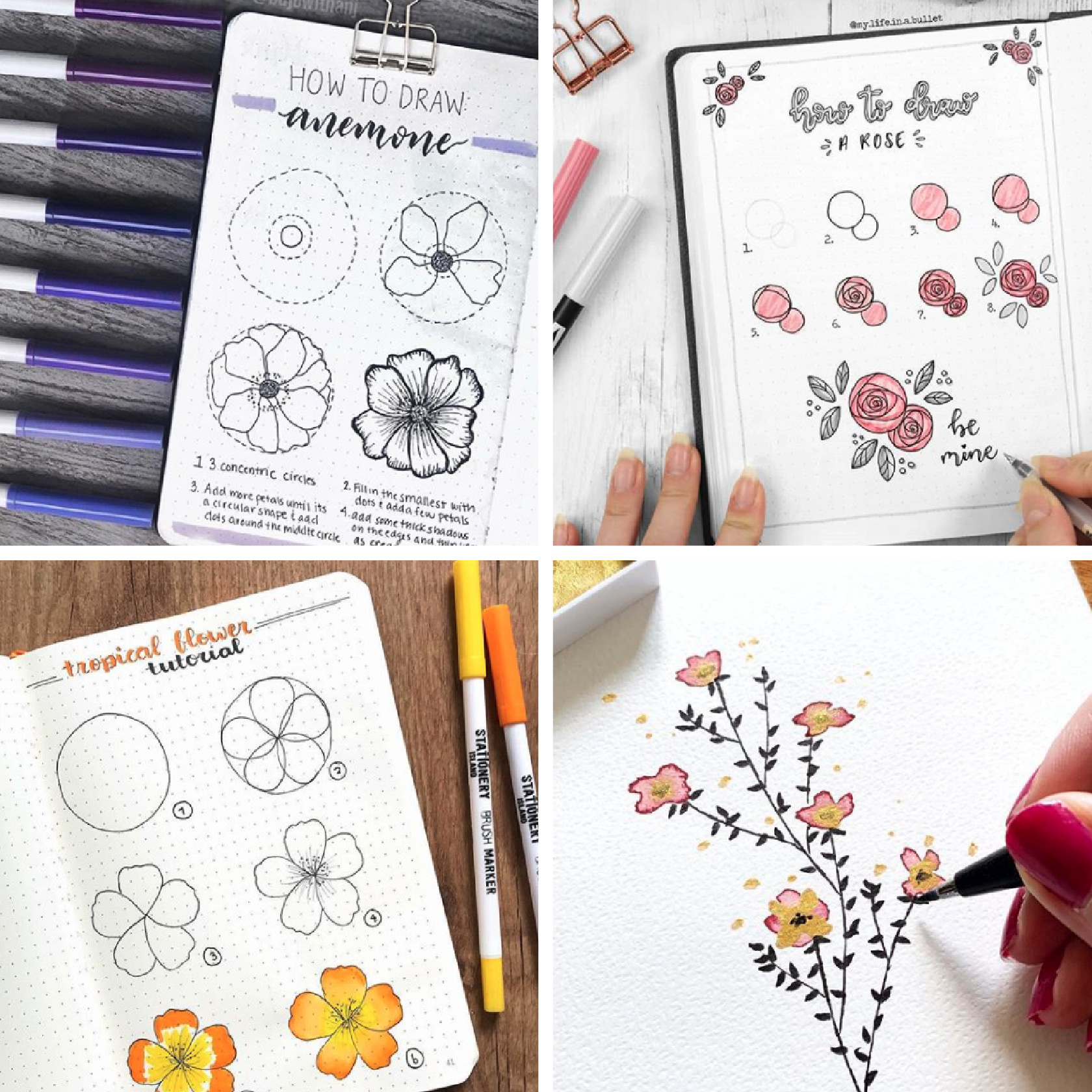 flower doodles for bullet journals and planners
