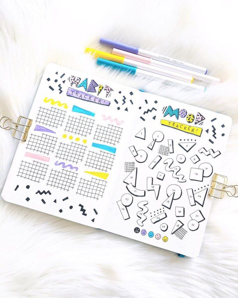 geometric shapes bullet journal tracker