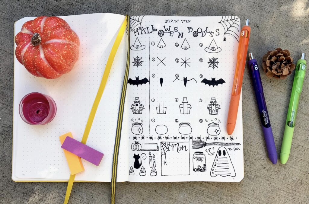 halloween doodles for bullet journals