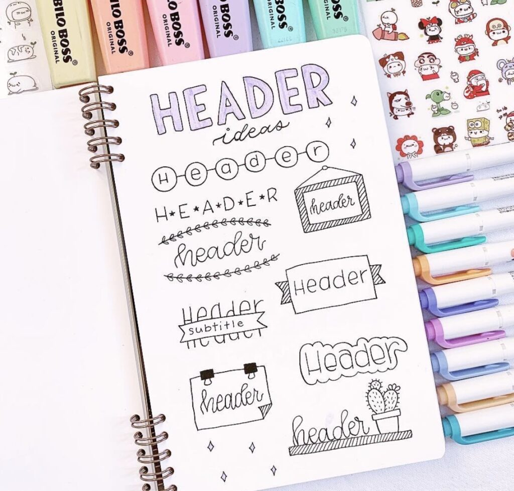 header-doodles-nicole-grace-studies bullet journal header ideas