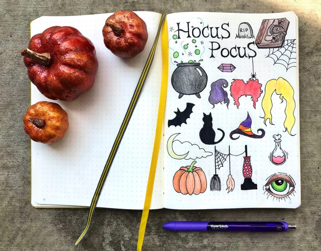 hocus pocus doodles for planners and bullet journals