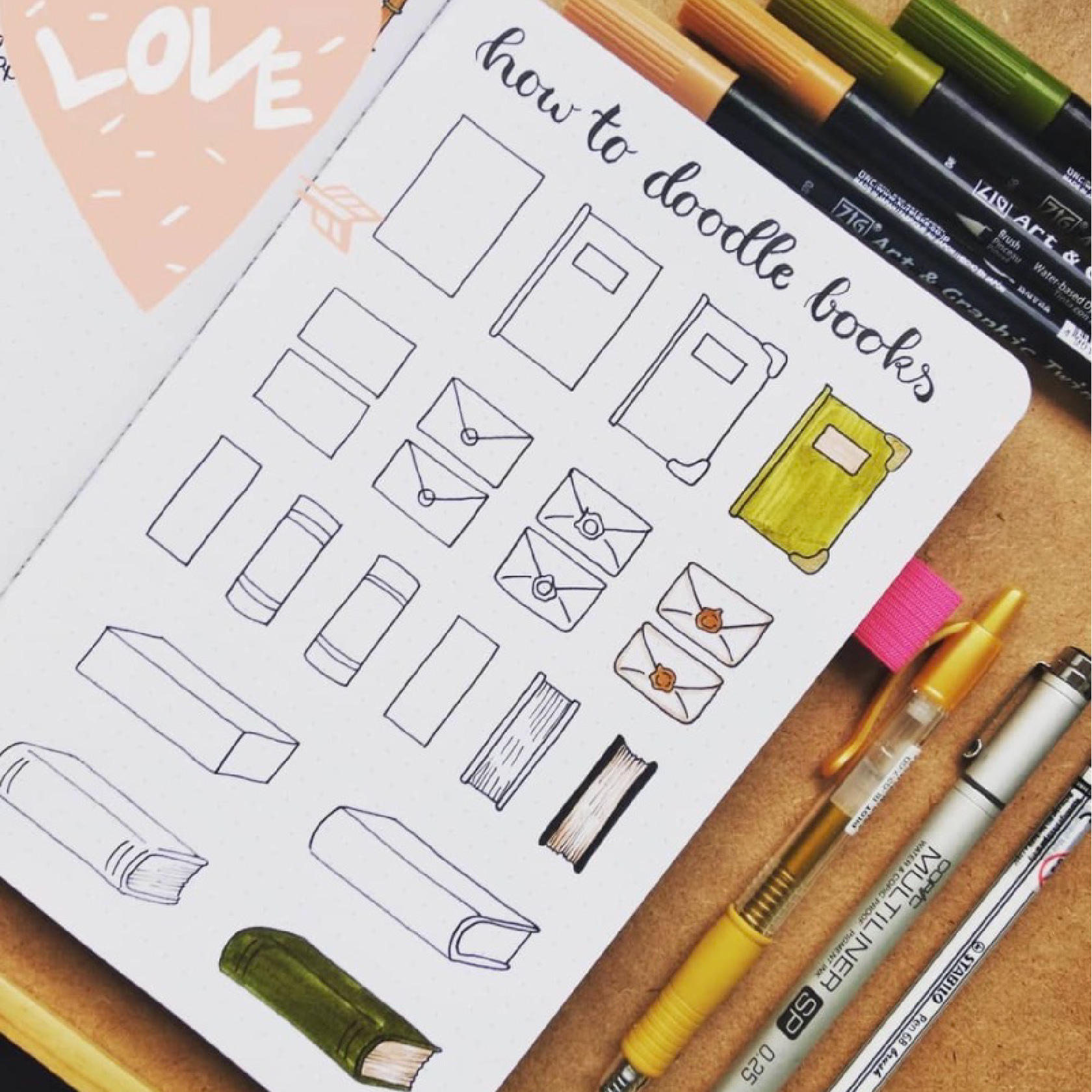 how to draw a book step by step tutorials for bullet journals