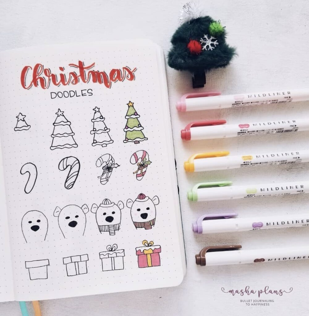 christmas tree and candy cane doodles
