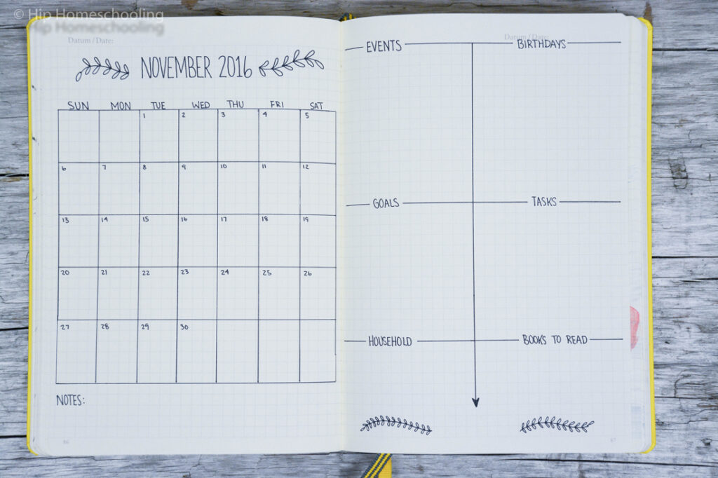 monthly page spread example