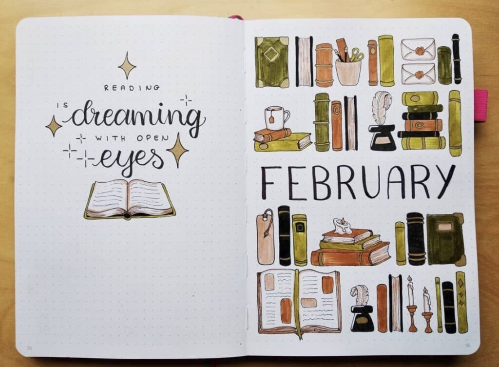 monthly-spread-with-book-shelf-lepetitchat96