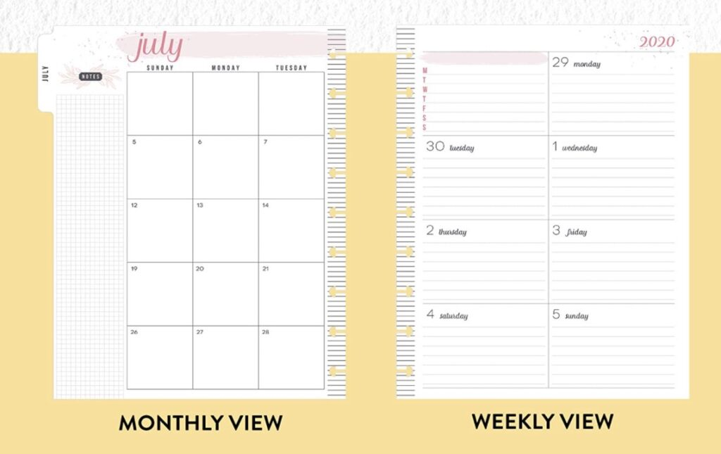happy planner dashboard pages and layout