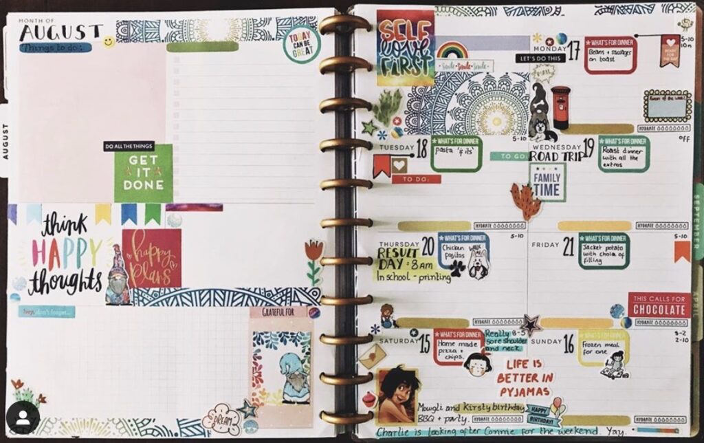 Planning Pidge planner dashboard with stickers