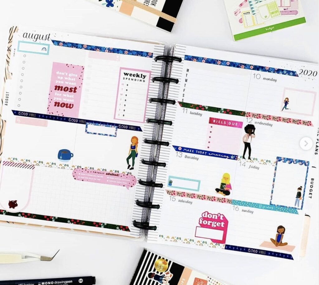 Planning with Stitch Spin Weekly Planner Layout