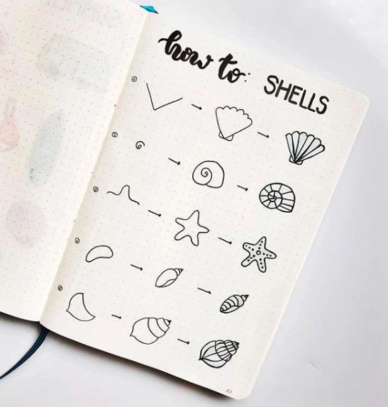 shells-moonjournal cute easy doodles