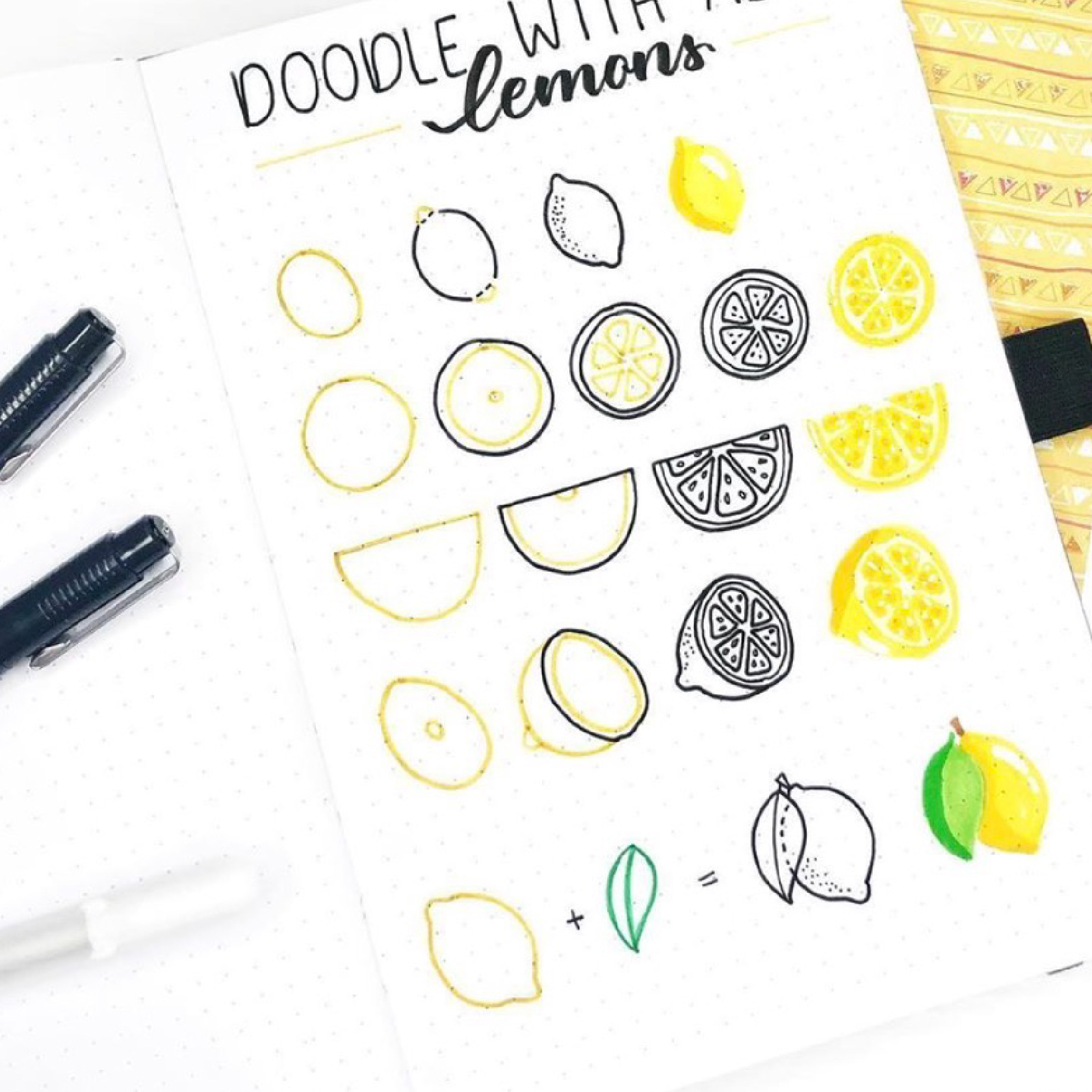 step by step doodles for bullet journals and planners