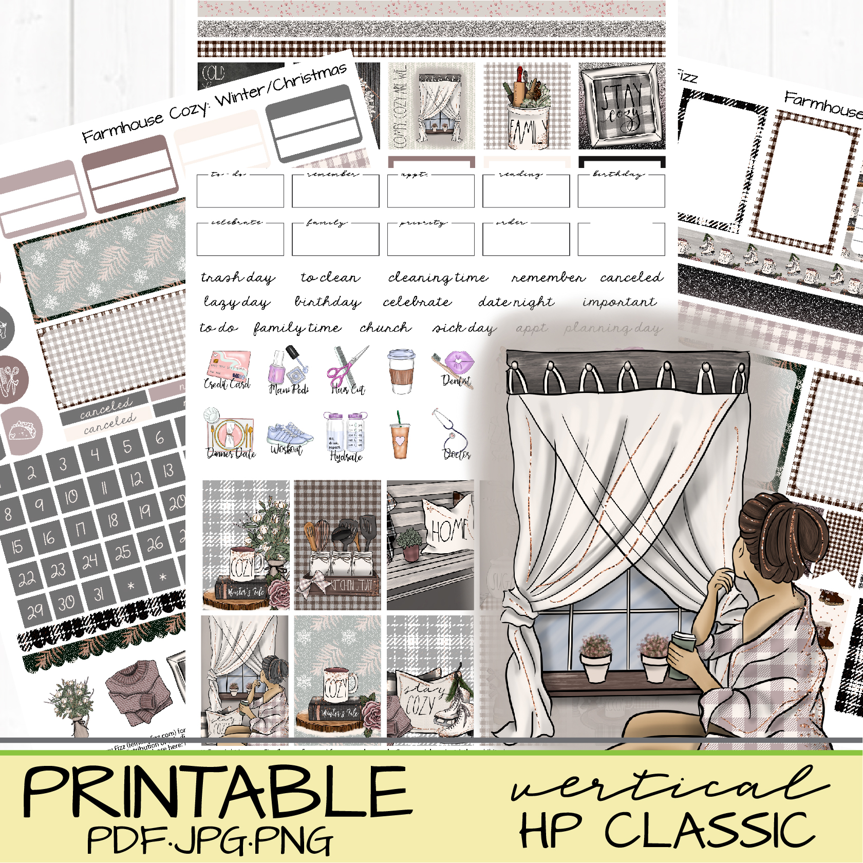 cozy farmhouse hygge stickers for planners