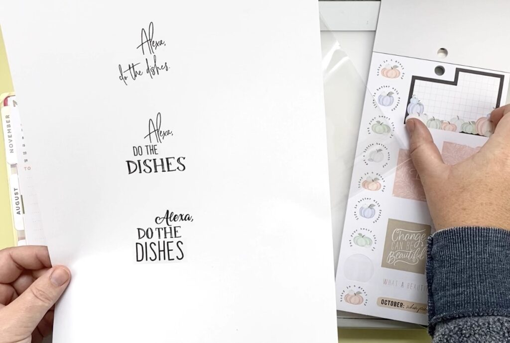 alexa do the dishes quote printed multiple times on paper for hand lettering practice