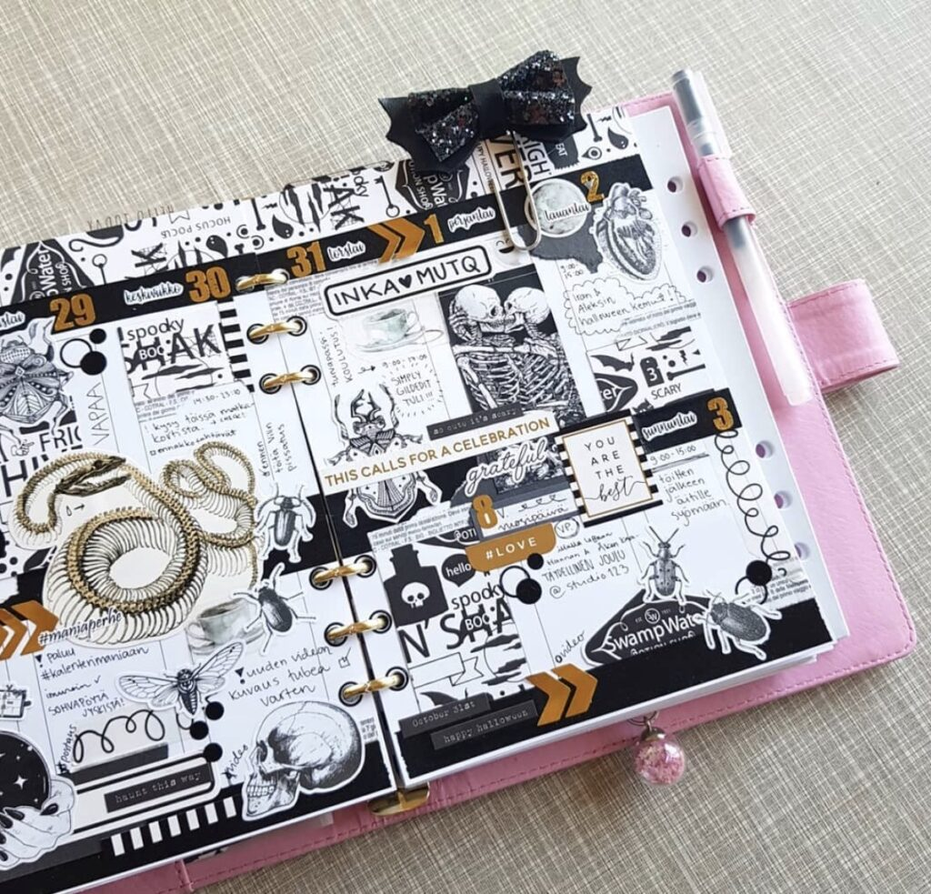 black-and-white-halloween-inkasauruscrafts weekly planner layout