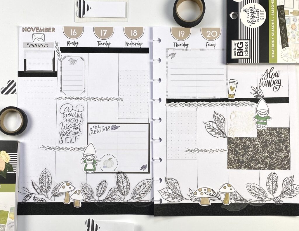 weekly planner layouts in black and white with Oh Gnome! Lawn Fawn stamps