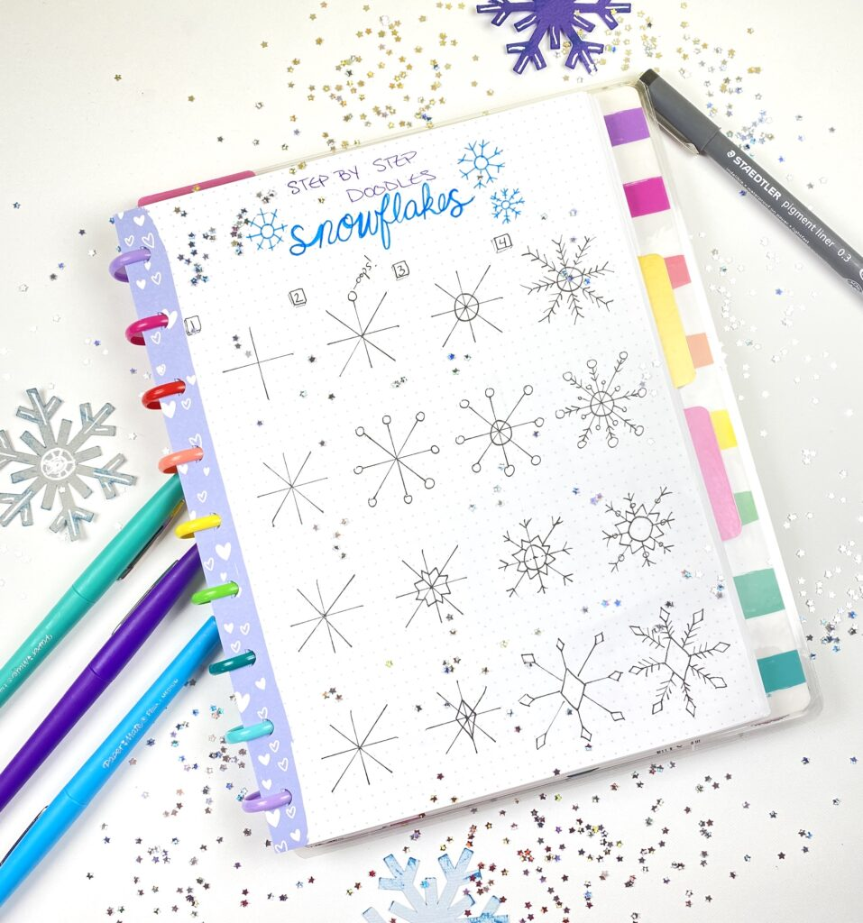 How to draw a snowflake in your planner or bullet journal.