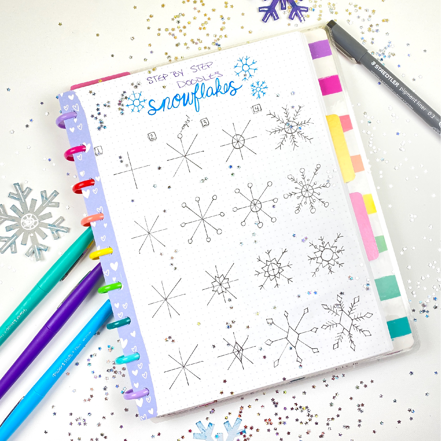 how to draw a snowflake for your bullet journal or planner doodles