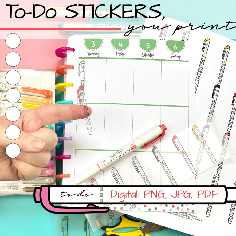 printable sticker paper for planners and bullet journals to do list