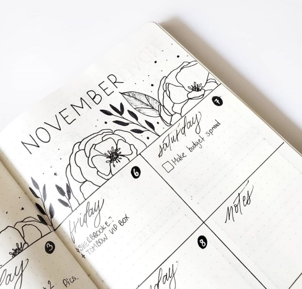 november-floral-spread-didi-journals weekly bullet journal layout