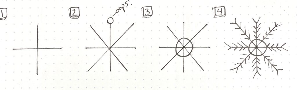 snowflake drawing tutorial type one
