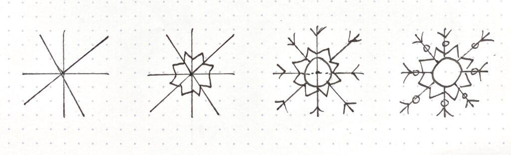 easy step by step snowflake drawing tutorials