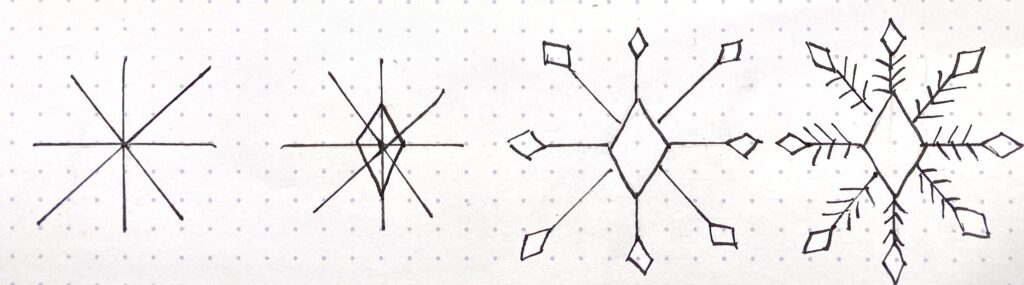 sketch a snowflake with step by step tutorials