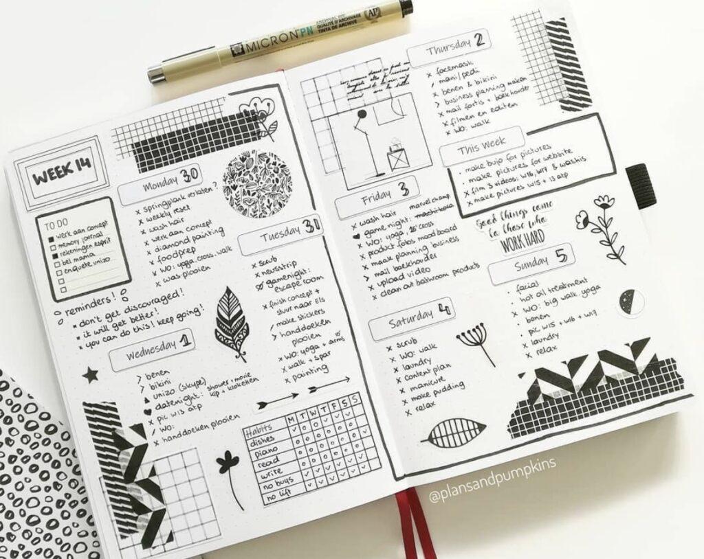 black-white-weekly-spread-plansandpumpkins