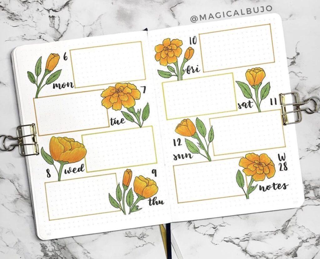 marigold-weekly-bullet-journal-spread-magicalbujo