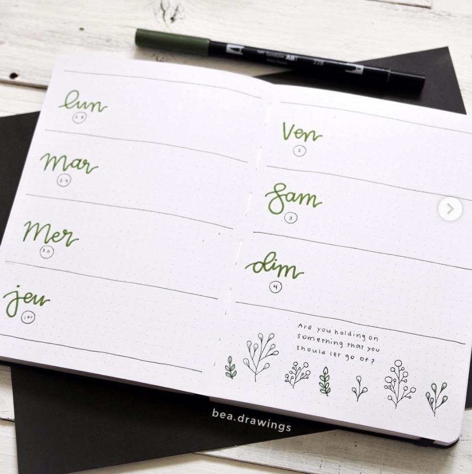 minimalist-bullet-journal-spread-green-beadrawings