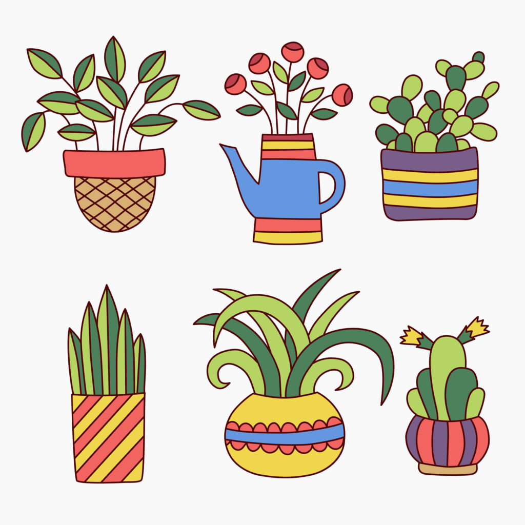 colorful succulent drawings for your bullet journal