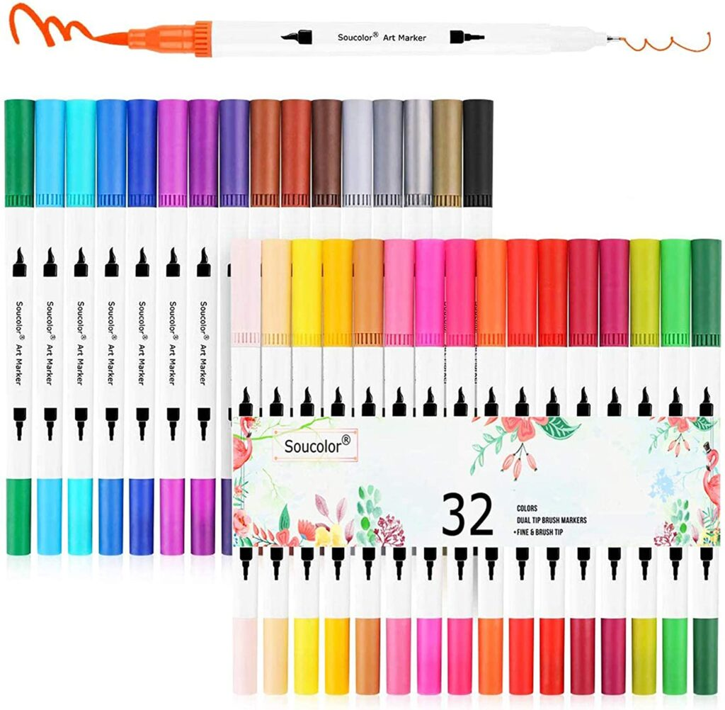 soucolor-journaling-dual-tip-brush-markers