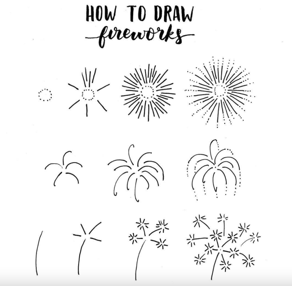 fireworks doodle drawing