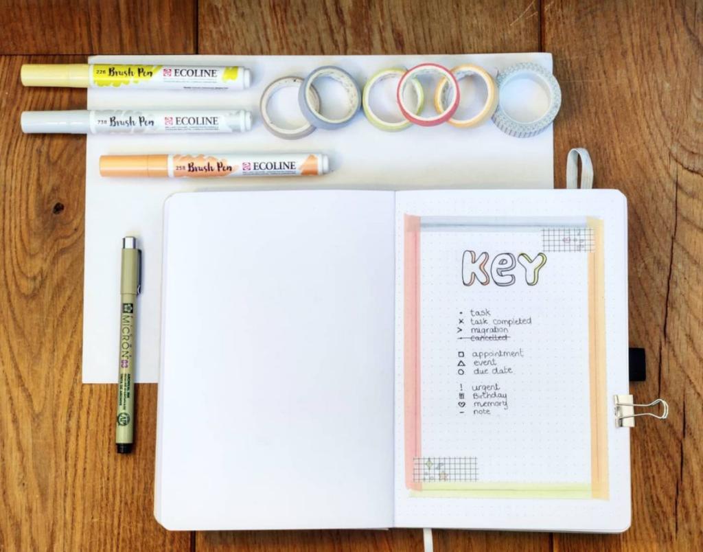 washi tape key page design