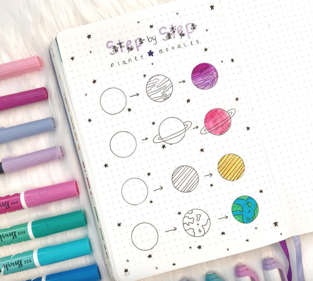 planets doodle drawings