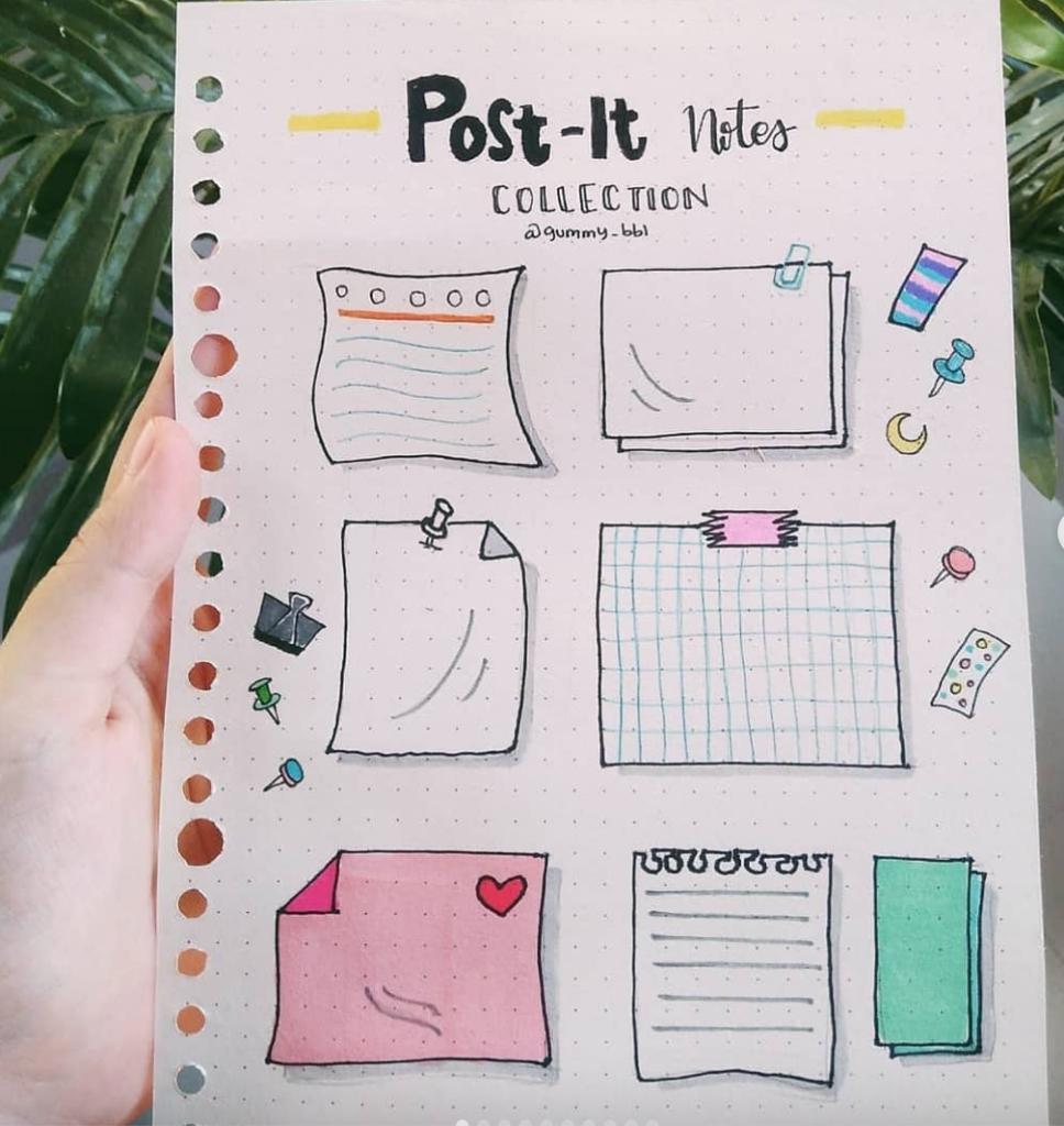 post it note planner doodles