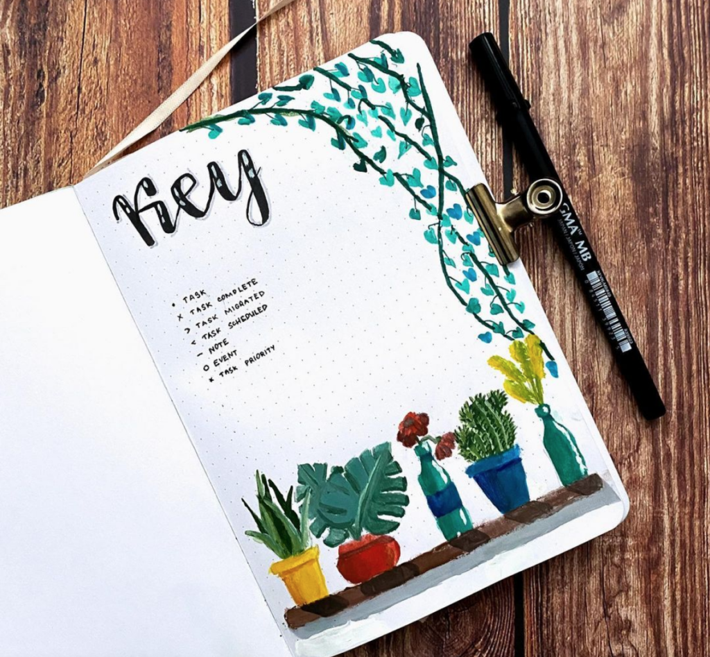 bullet journal key page design with drawings