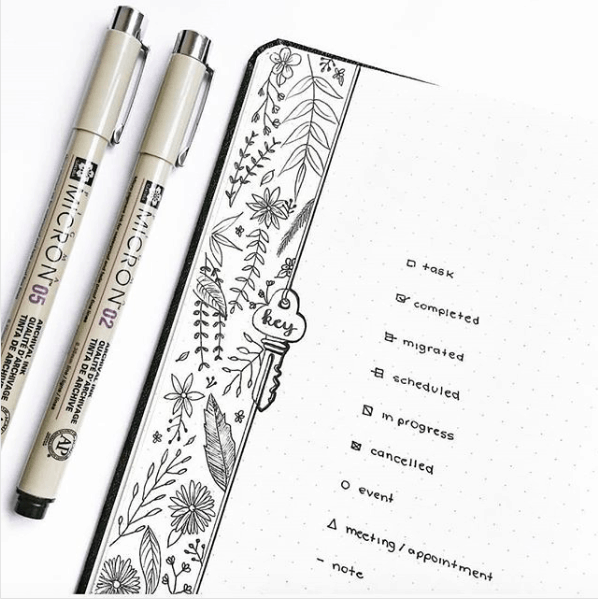 bujo key page with doodles along the side