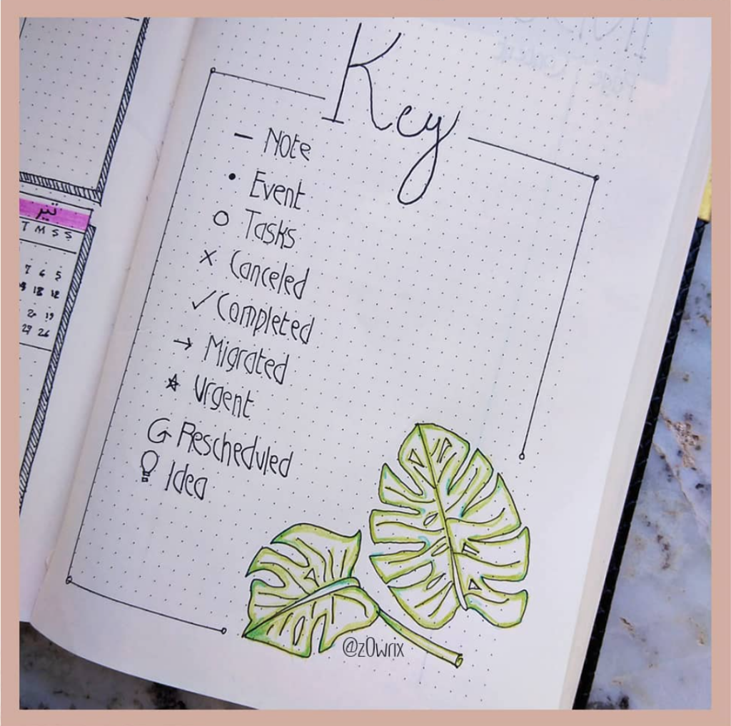 bujo key with simple doodle