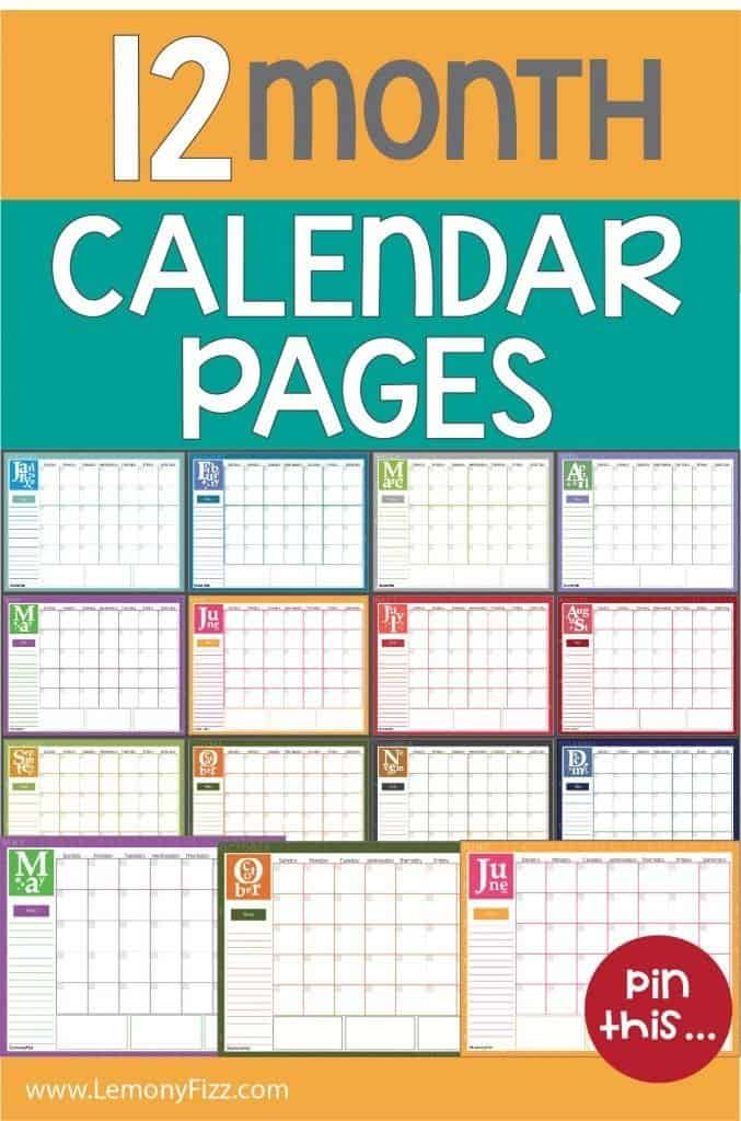 Free 12 Month Calendar Pages 2019