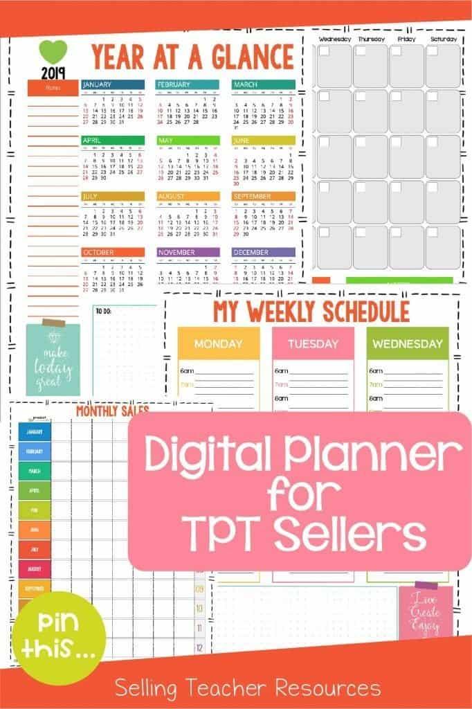 Digital planner for Teachers Pay Teachers sellers.