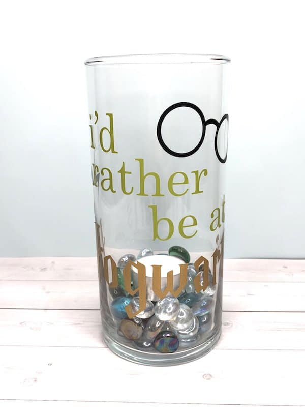 Rather be at Hogwarts candle holder jar.
