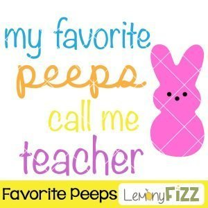 SVG file that says my favorite peeps call me teacher and has a pink bunny.