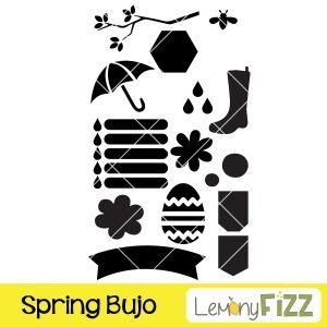 Spring bullet journal stencil that includes raindrops, umbrella, rubber boots, banners, and bees.