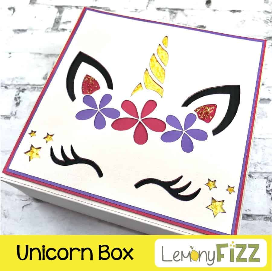 Unicorn Paper Box SVG File preview for Cricut and Silhouette machines.